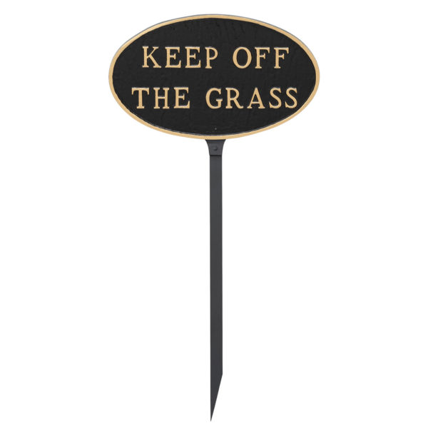 """8.5"""" x 13"""" Standard Oval Keep off the Grass Statement Plaque Sign with 23"""" lawn stake, Black with Gold Lettering"""