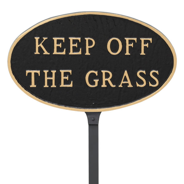 """6"""" x 10"""" Small Oval Keep off the Grass Statement Plaque Sign with 23"""" lawn stake, Black with Gold Lettering"""
