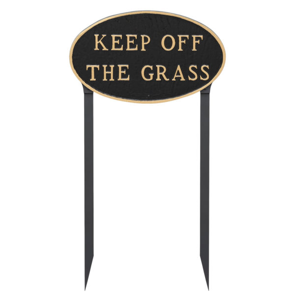 """10"""" x 18"""" Large Oval Keep off the Grass Statement Plaque Sign with 23"""" lawn stake, Black with Gold Lettering"""