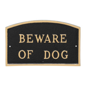 "10"" x 15"" Standard Arch Beware of Dog Statement Plaque Sign"