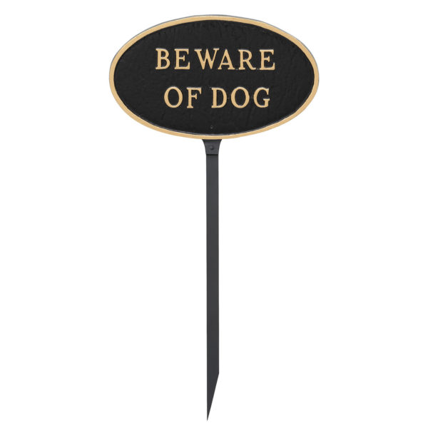 "6"" x 10"" Small Oval Beware of Dog Statement Plaque Sign with 23"" lawn stake"