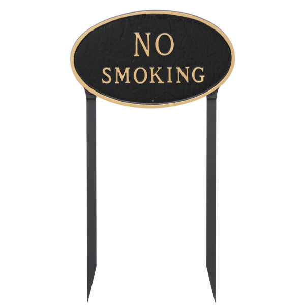 """10"""" x 18"""" Large Oval No Smoking Statement Plaque Sign with 23"""" lawn stake"""