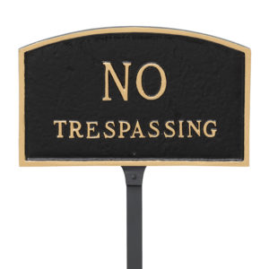 """5.5"""" x 9"""" Small Arch No Statement Plaque Sign with 23"""" lawn stake"""
