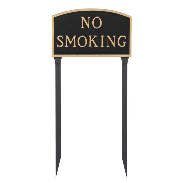 """10"""" x 15"""" Standard Arch No Smoking Statement Plaque Sign with 23"""" lawn stake, Black with Gold Lettering"""