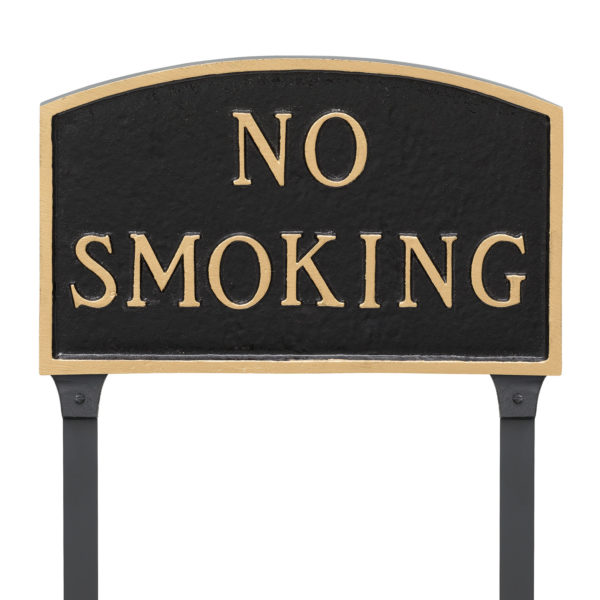 """13"""" x 21"""" Large Arch No Smoking Statement Plaque Sign with 23"""" lawn stake, Black with Gold Lettering"""