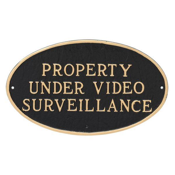 "10"" x 18"" Large Oval Property Under Video Surveillance Statement Plaque Sign"