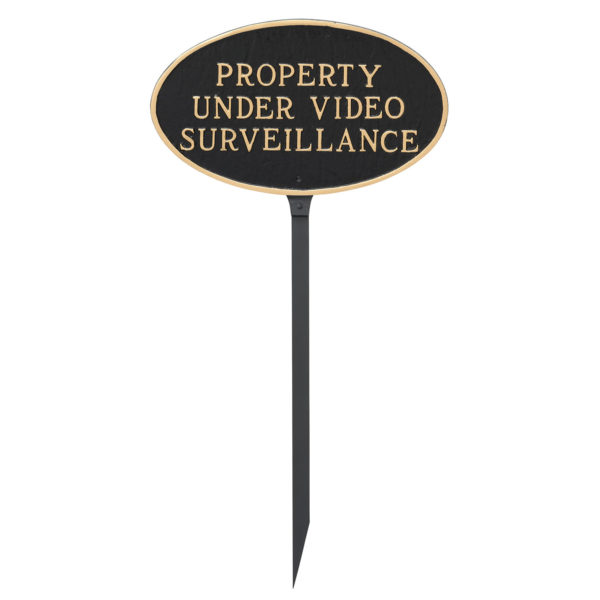 """6"""" x 10"""" Small Oval Property Under Video Surveillance Statement Plaque Sign with 23"""" lawn stake"""