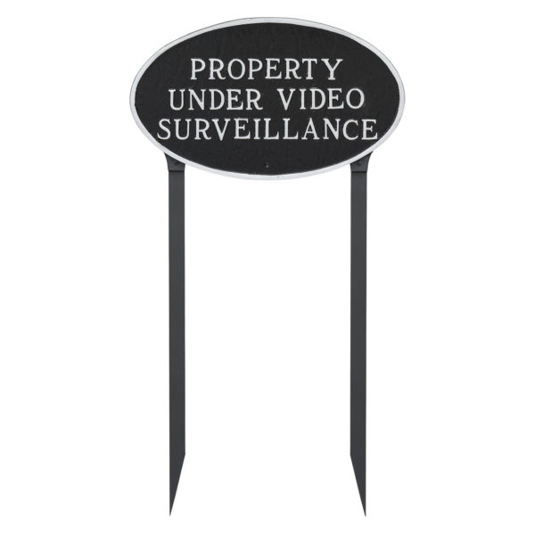 """10"""" x 18"""" Large Oval Property Under Video Surveillance Statement Plaque Sign with 23"""" lawn Stakes"""