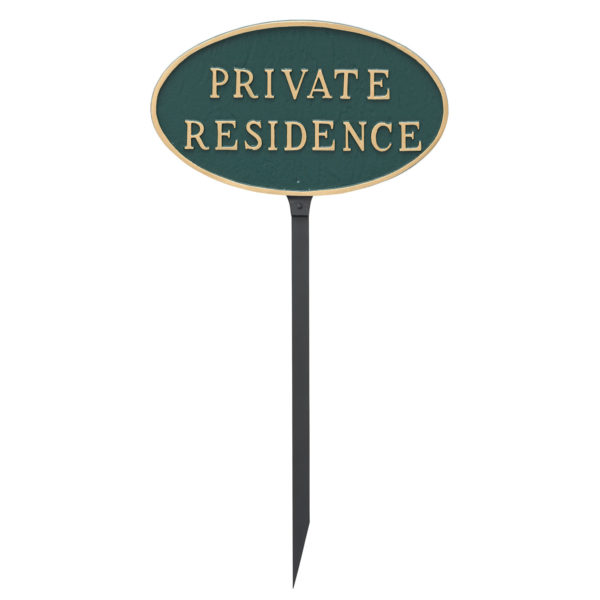 """8.5"""" x 13"""" Standard Oval Private Residence Statement Plaque Sign with 23"""" lawn Stake"""