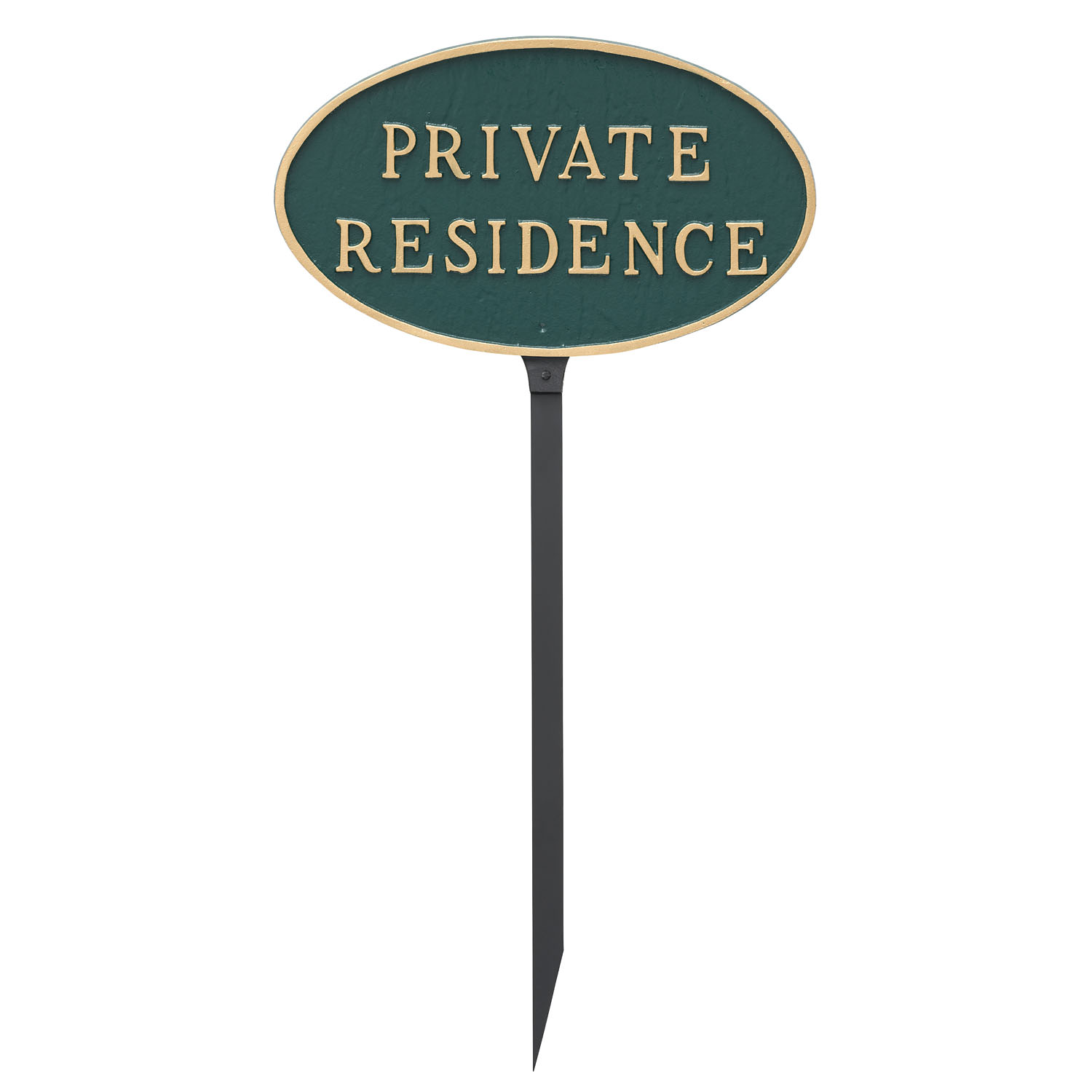 Black with Gold Lettering 10 x 18 Montague Metal Products Oval Private Residence Statement Plaque Sign