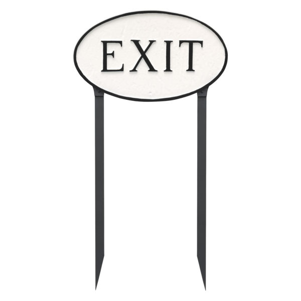 """10"""" x 18"""" Large Oval Exit Statement Plaque Sign with 23"""" lawn Stakes"""