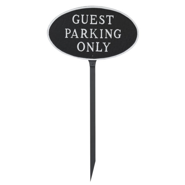 "6"" x 10"" Small Oval Guest Parking Only Statement Plaque Sign with 23"" lawn stake"