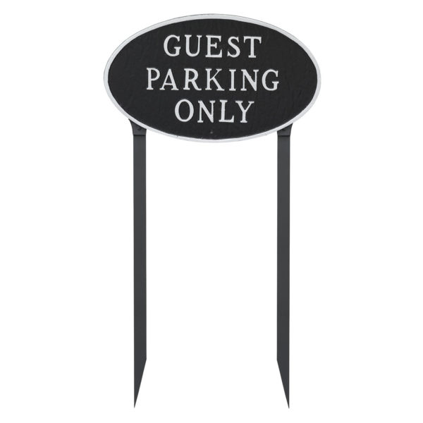 """10"""" x 18"""" Large Oval Guest Parking Only Statement Plaque Sign with 23"""" lawn Stakes"""