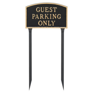 "13"" x 21"" Large Arch Guest Parking Only Statement Plaque Sign with 23"" lawn stake"