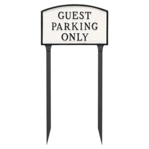 "10"" x 15"" Standard Arch Guest Parking Only Statement Plaque Sign with 23"" lawn stake"