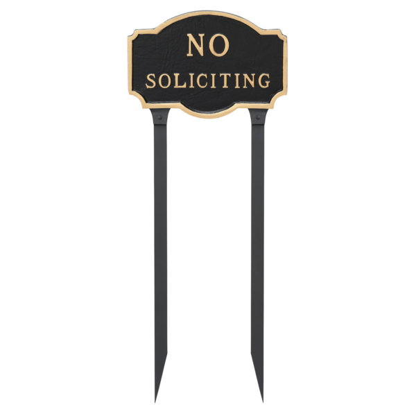 """10"""" x 15"""" Standard No Soliciting Statement Plaque Sign with 23"""" lawn Stake"""