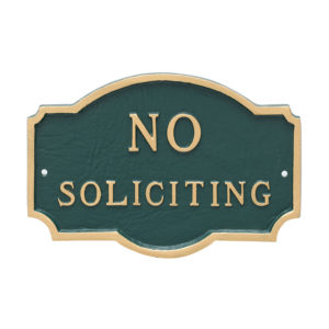 "10"" x 15"" Standard No Soliciting Statement Plaque Sign"
