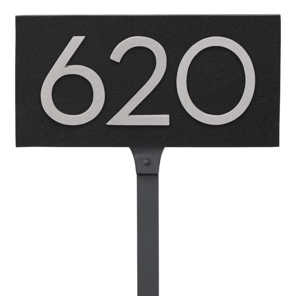 "Floating Modern 4"" Number Horizontal Address Plaque with Lawn Stakes (3 digits)"