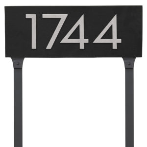 "Floating Modern 4"" Number Horizontal Address Plaque with Lawn Stakes (4 digits)"