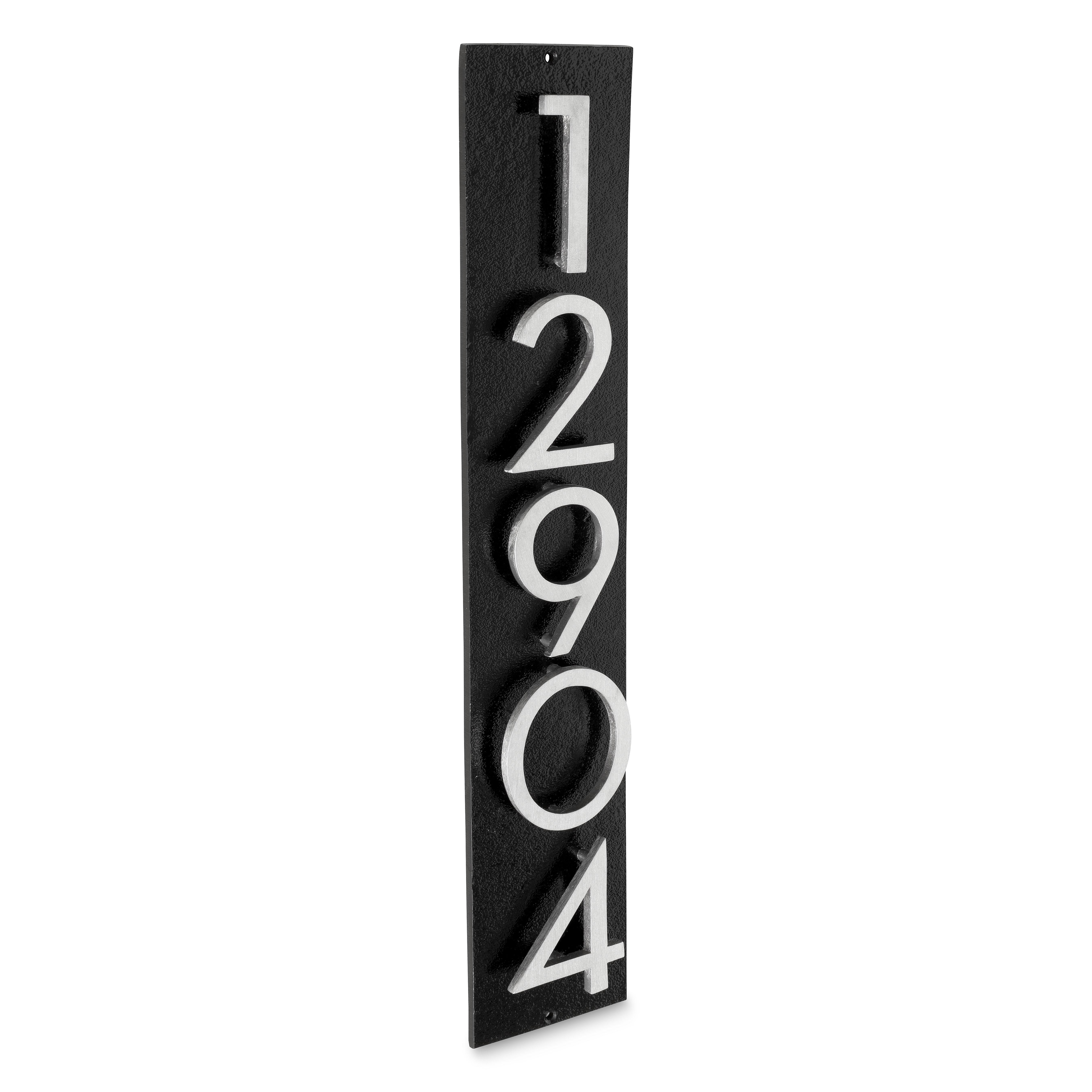 Floating Modern 3 Number Vertical Address Plaque 5 Digits Montague Metal Products