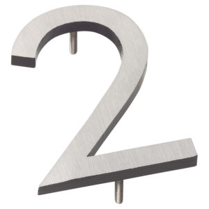 "8"" Satin Nickel/Black Two Tone Aluminum floating or flat Modern House Numbers 0-9"