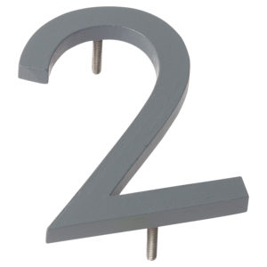 "10"" Gray Aluminum floating or flat Modern House Numbers 0-9"