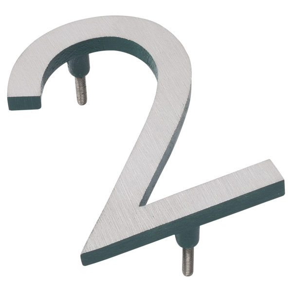 """6"""" Satin Nickel/Hunter Green Two Tone Aluminum floating or flat Modern House Numbers 0-9"""