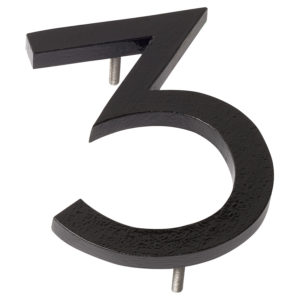 "10"" Black Aluminum floating or flat Modern House Numbers 0-9"