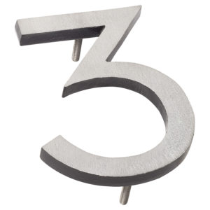 "24"" Satin Nickel/Black Two Tone Aluminum floating or flat Modern House Numbers 0-9"