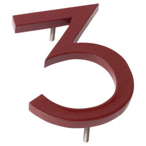 "8"" Brick Red Aluminum floating or flat Modern House Numbers 0-9"