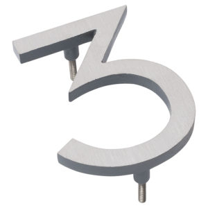 "4"" Satin Nickel/Gray Two Tone Aluminum floating or flat Modern House Numbers 0-9"