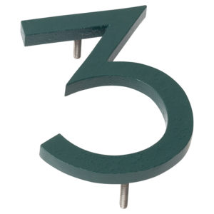 "4"" Hunter Green Aluminum floating or flat Modern House Numbers 0-9"