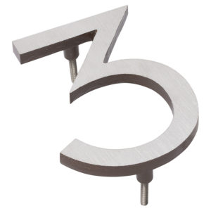 "6"" Satin Nickel/Roman Bronze Two Tone Aluminum floating or flat Modern House Numbers 0-9"