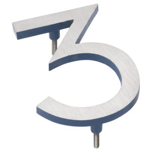 "12"" Satin Nickel/Sea Blue Two Tone Aluminum floating or flat Modern House Numbers 0-9"