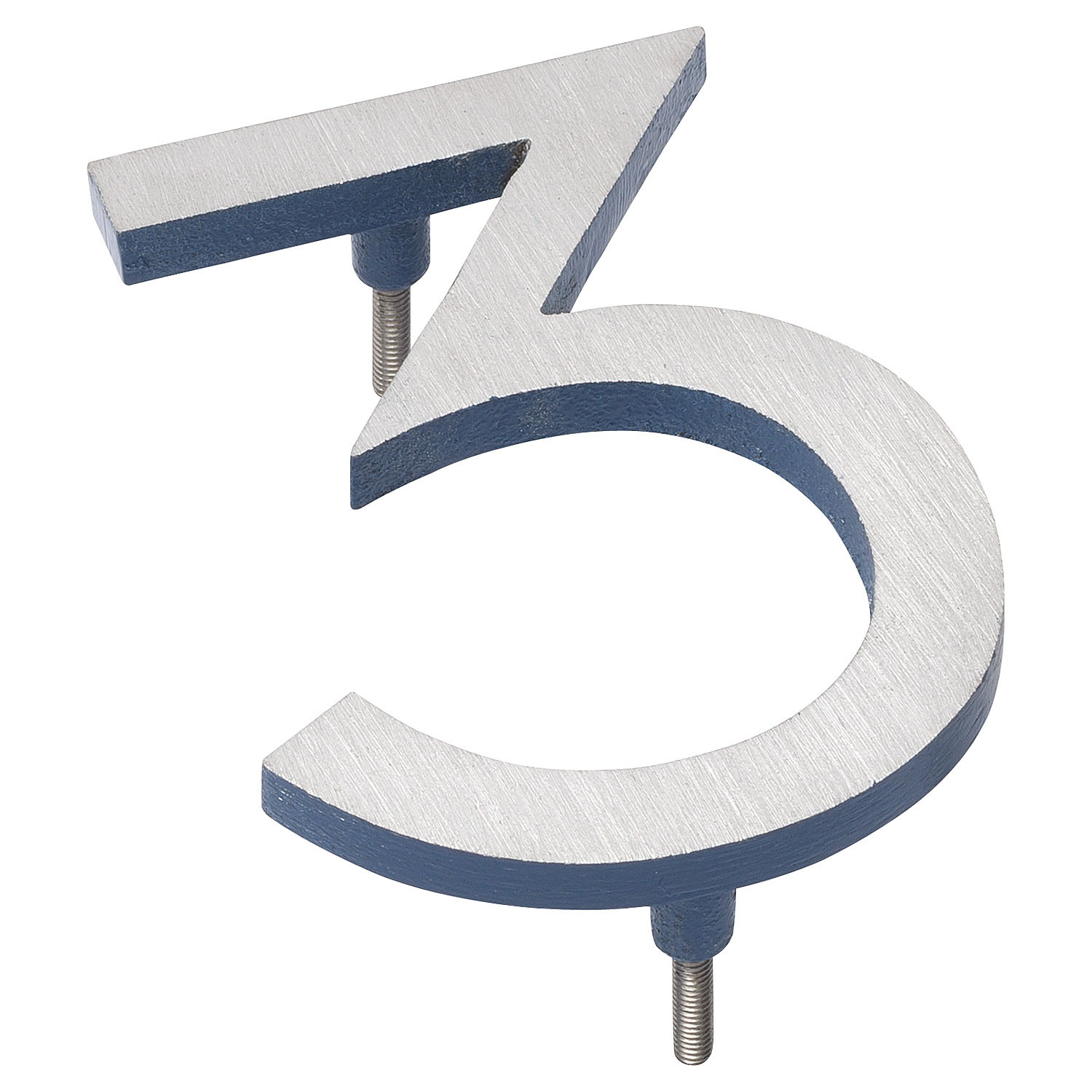 "16"" Satin Nickel/Sea Blue Two Tone Aluminum floating or flat Modern House Numbers 0-9"