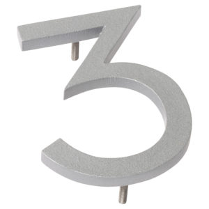 "10"" Silver Aluminum floating or flat Modern House Numbers 0-9"