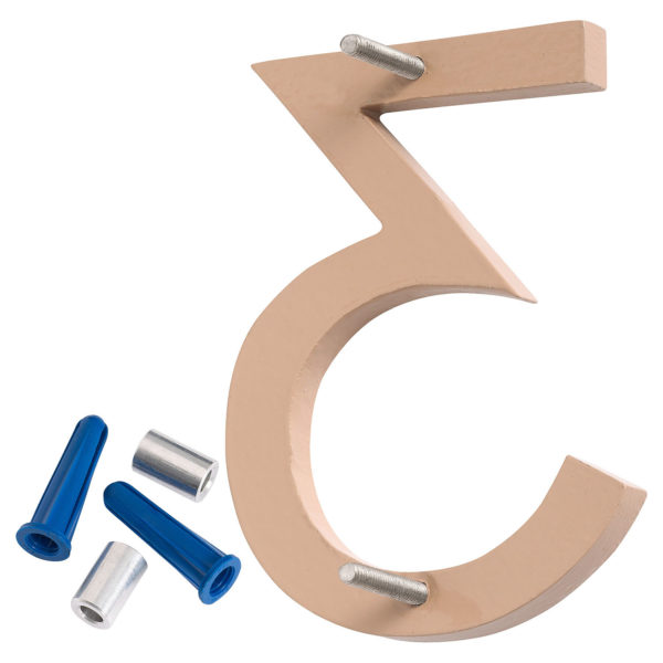 """6"""" Taupe Aluminum floating or flat Modern House Numbers 0-9"""
