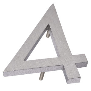 "4"" Brushed Alumunim floating or flat Modern House Number 0"