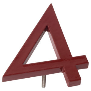 "4"" Brick Red Aluminum floating or flat Modern House Numbers 0-9"