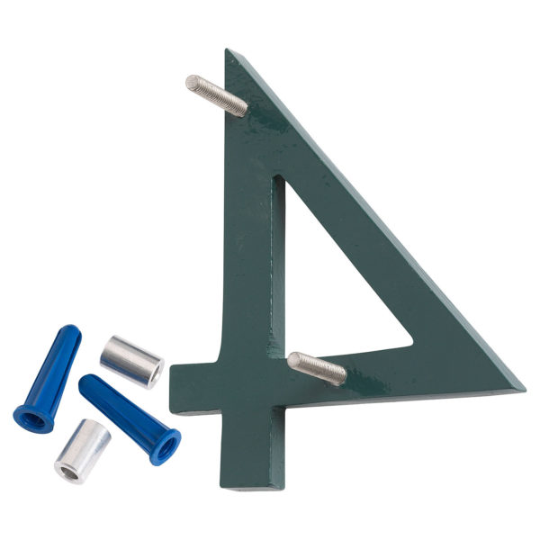 """12"""" Satin Nickel/Hunter Green Two Tone Aluminum floating or flat Modern House Numbers 0-9"""
