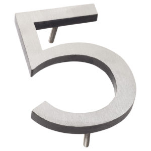 "6"" Satin Nickel/Black Two Tone Aluminum floating or flat Modern House Numbers 0-9"