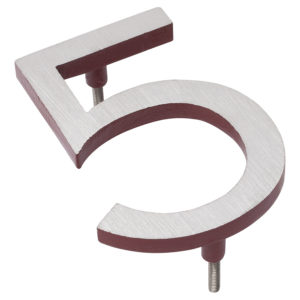 "16"" Satin Nickel/Brick Red Two Tone Aluminum floating or flat Modern House Numbers 0-9"