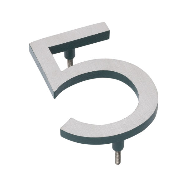 """4"""" Satin Nickel/Hunter Green Two Tone Aluminum floating or flat Modern House Numbers 0-9"""