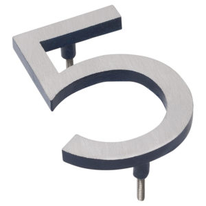 "12"" Satin Nickel/Navy Two Tone Aluminum floating or flat Modern House Numbers 0-9"