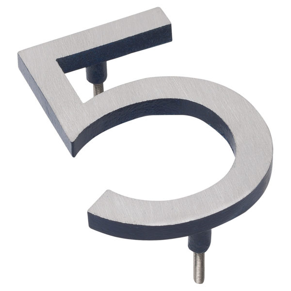 """12"""" Satin Nickel/Navy Two Tone Aluminum floating or flat Modern House Numbers 0-9"""