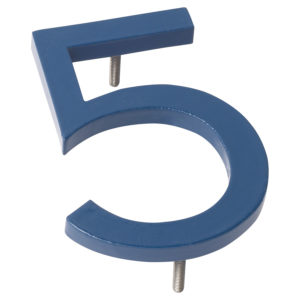 "12"" Sea Blue Aluminum floating or flat Modern House Numbers 0-9"