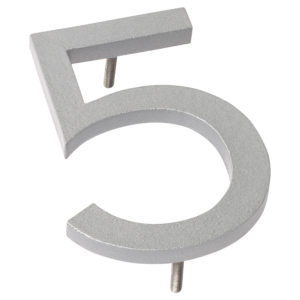 "12"" Silver Aluminum floating or flat Modern House Numbers 0-9"