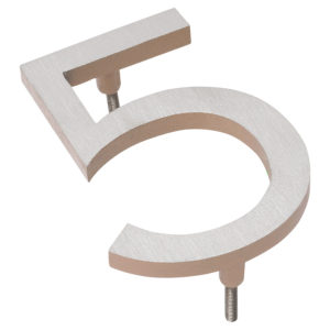 "16"" Satin Nickel/Taupe Two Tone Aluminum floating or flat Modern House Numbers 0-9"