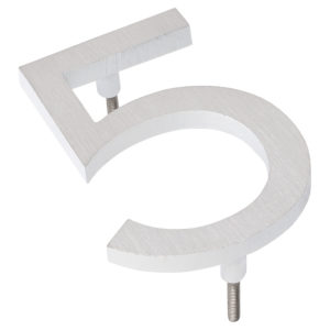 "6"" Satin Nickel/White Two Tone Aluminum floating or flat Modern House Numbers 0-9"