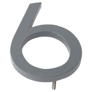 "12"" Gray Aluminum floating or flat Modern House Numbers 0-9"